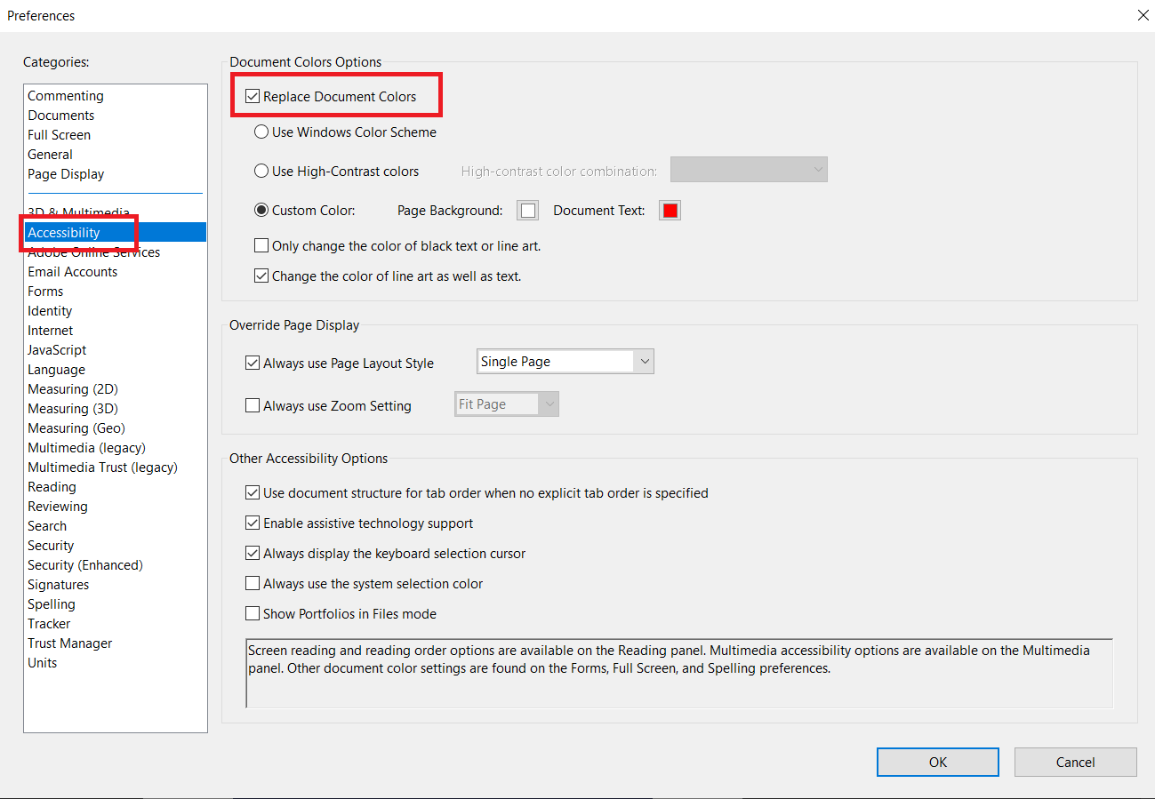 change color in accessibility in adobe reader