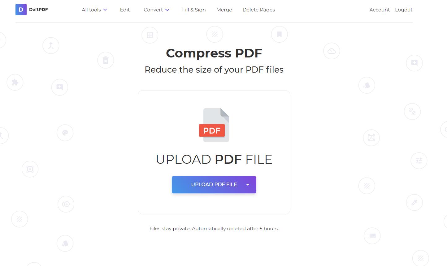 upload pdf file in compress tool