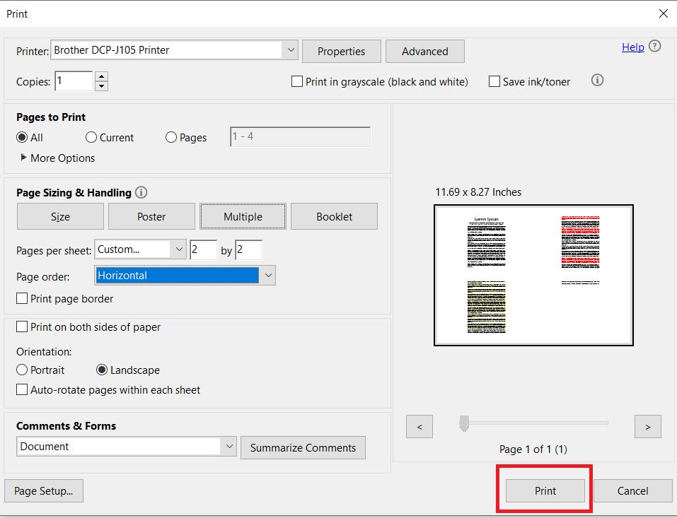 printing options in Adobe Acrobat