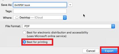 best for printing, export as PDF