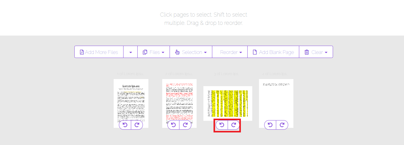 combine and reorder tool rotating specific pages