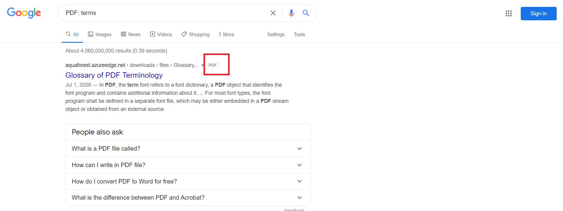 PDF tag in Googl