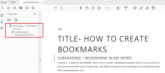 Digital PDF bookmark