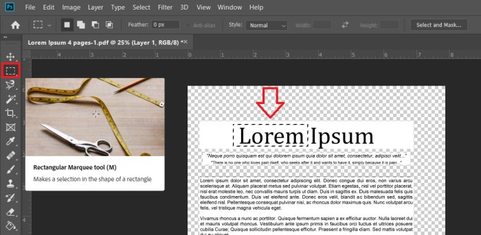 marquee selector in photoshop