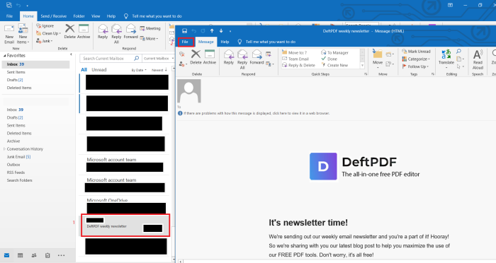 outlook save as PDF