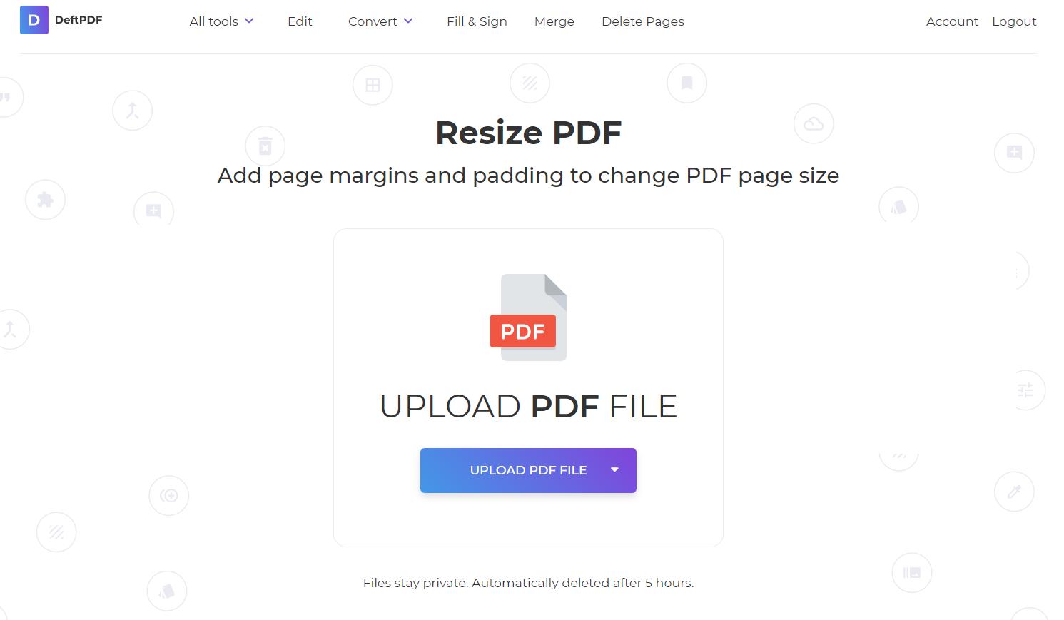 DeftPDF resize tool change paper