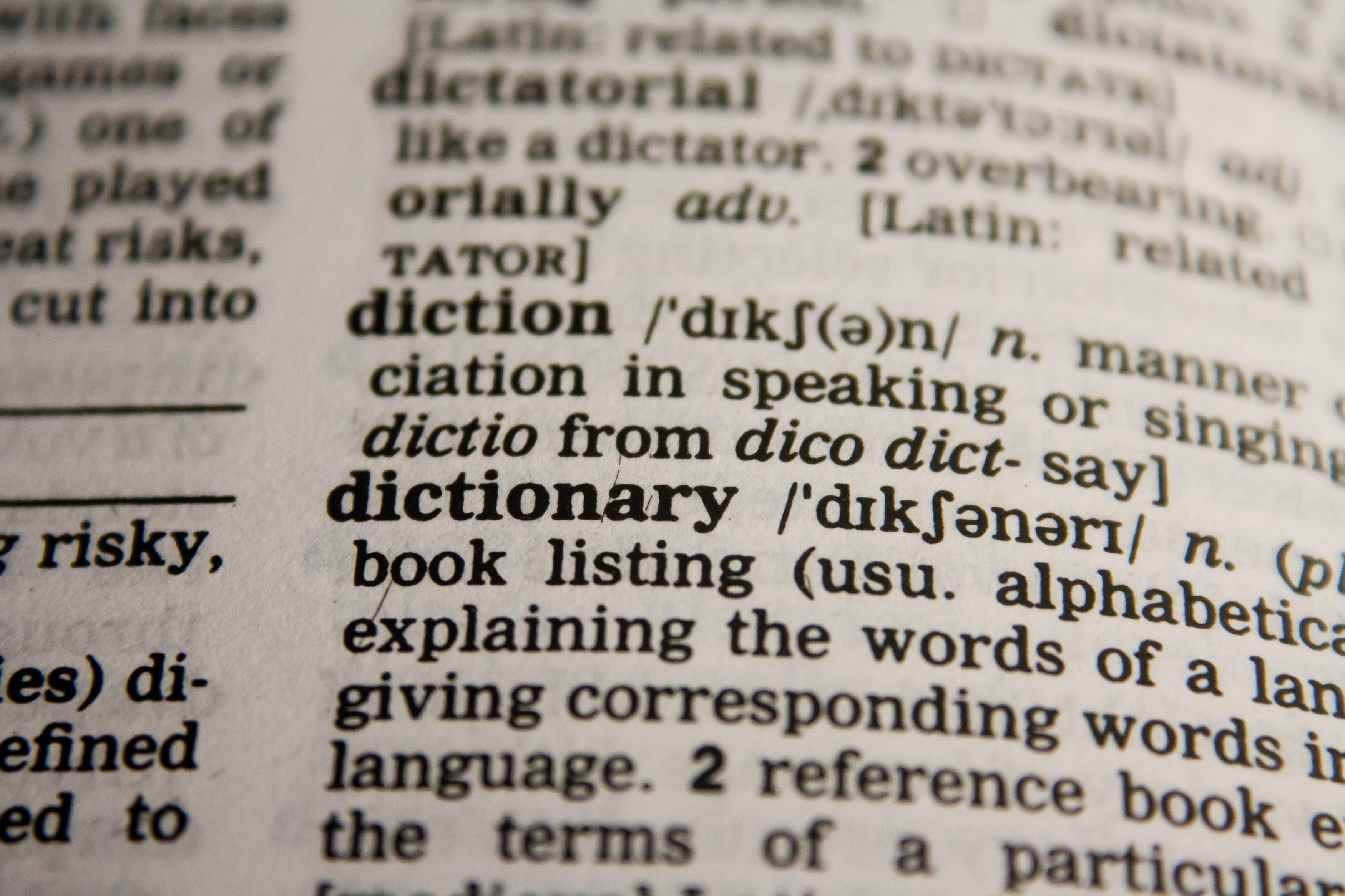 a dictionary photo symbolizing language should be set on accessible PDF