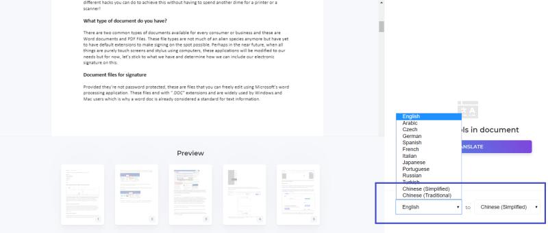 DeftPDF translate PDF tool