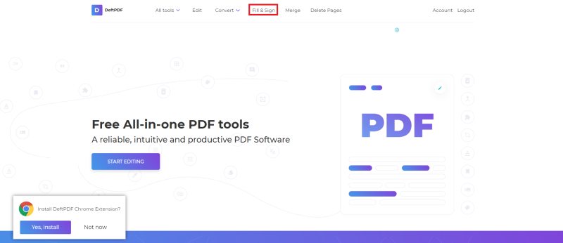 tool online for fill and sign PDF