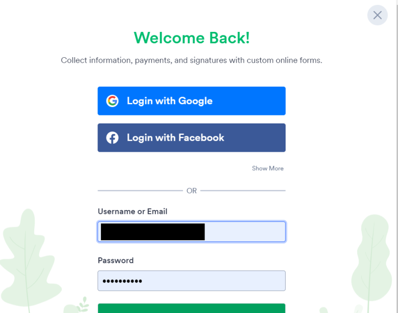 jotform log in with facebook or gmail