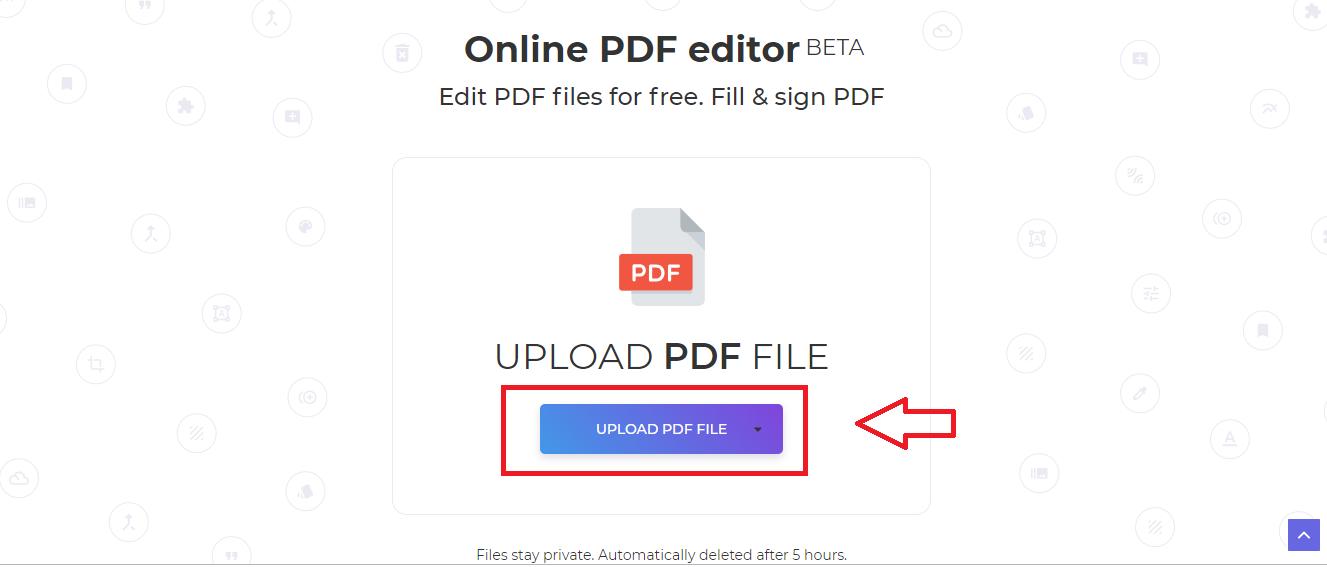 DeftPDF online PDF editor upload