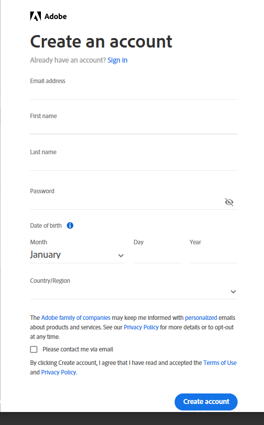 create account with adobe ID