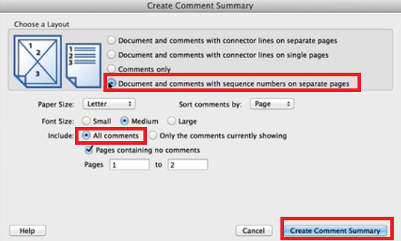 create comment summary