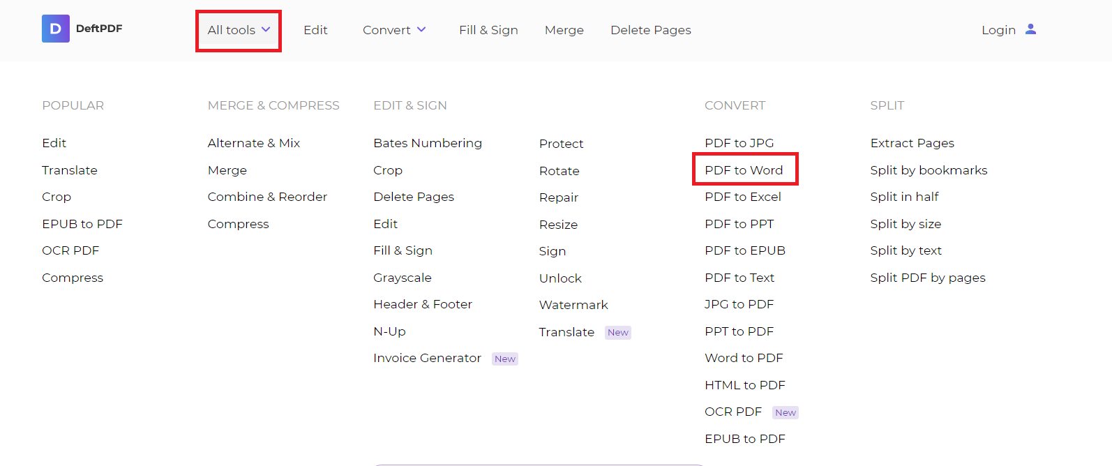PDF to WORD tool free