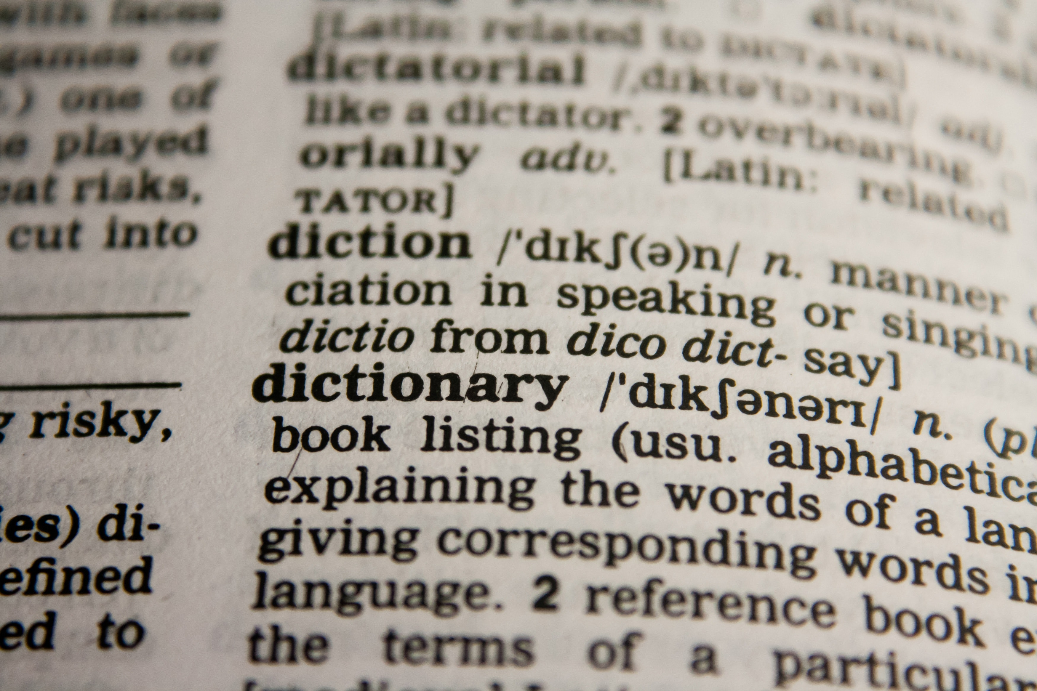 a dictionary photo symbolizing language should be set on accessible PDF