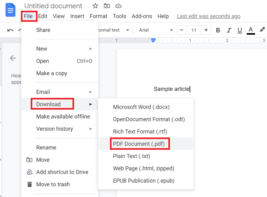 save to pdf using google docs