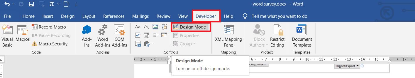 design tab in developer tools in word
