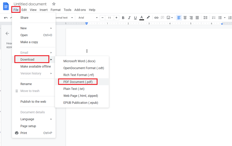 Download Google docs as PDF