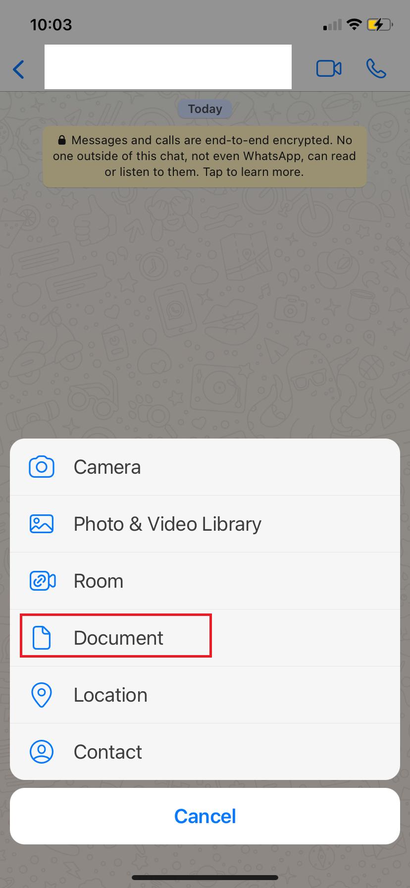 screenshot of whatsapp choosing documents in options