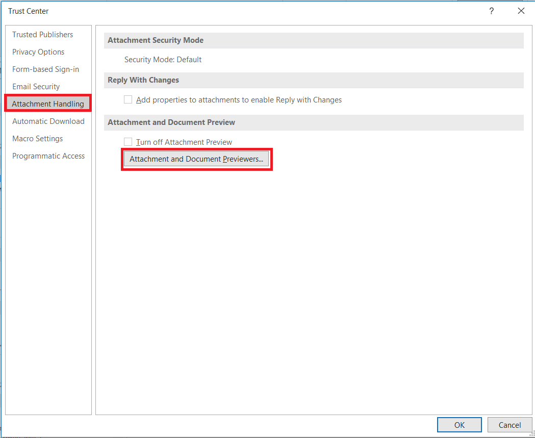 disabling pdf preview on outlook