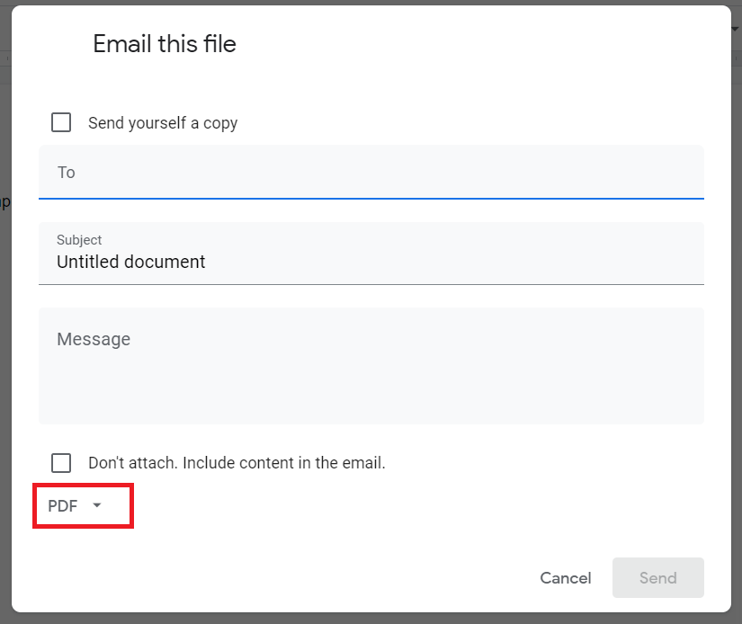 send as pdf in google docs
