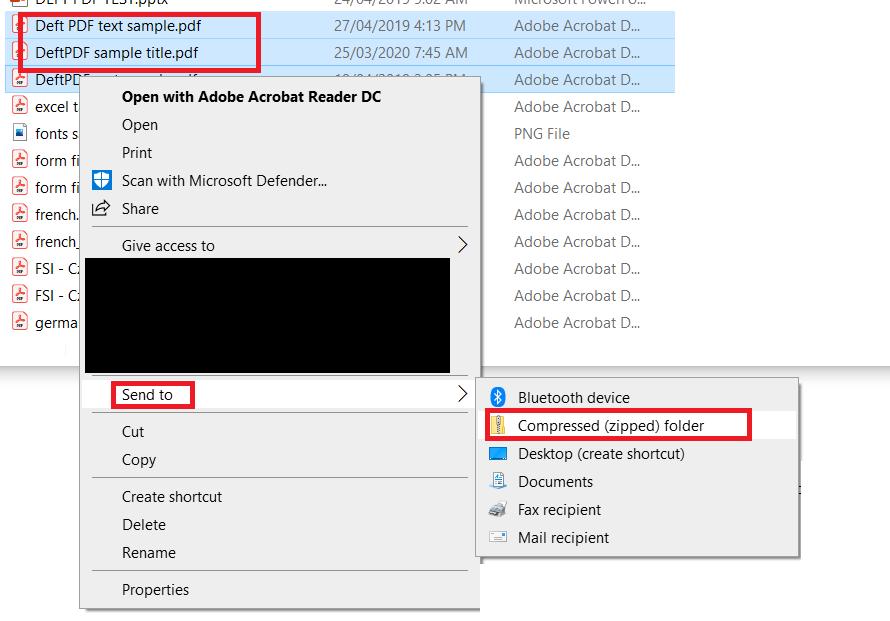 zip PDF files using windows
