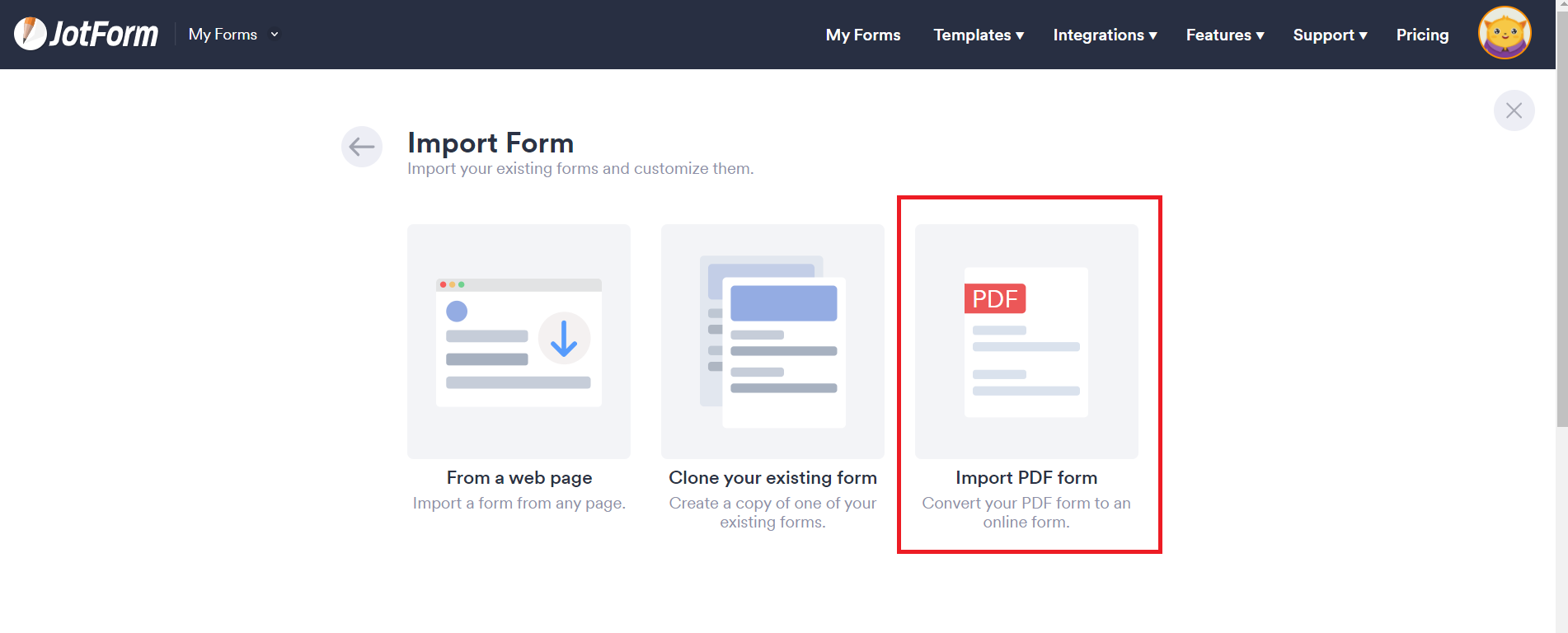 import PDF form in jotform