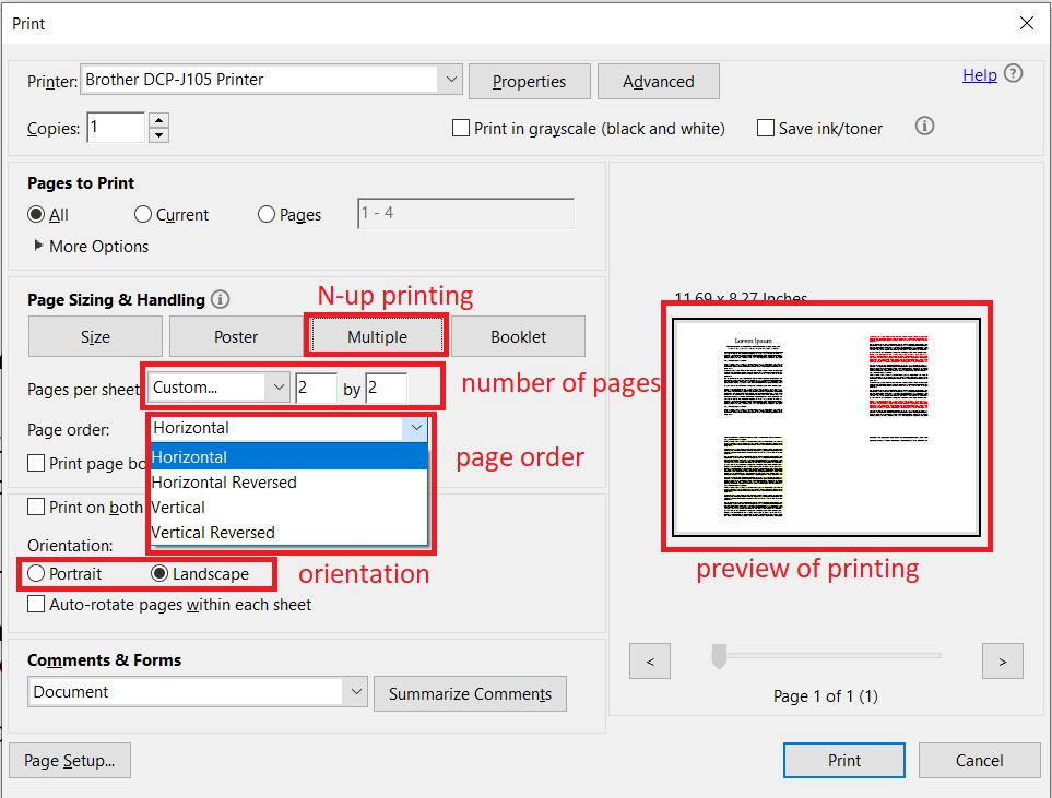 Nup printing in Adobe Acrobat