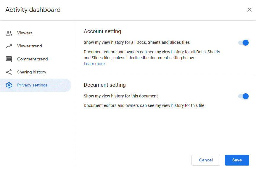 privacy setting change in g suite