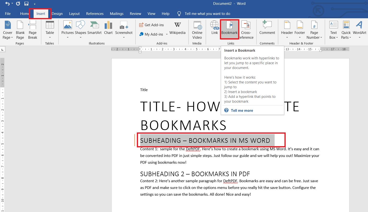 add a bookmark using Word