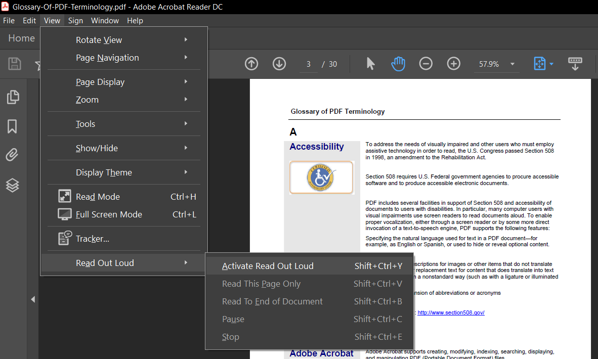 activate read out aloud in adobe