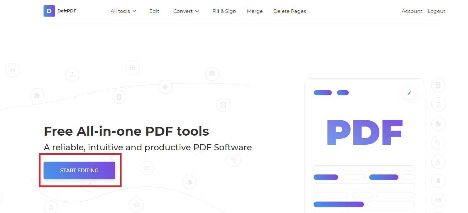 start editing and creating pdf with deftpdf