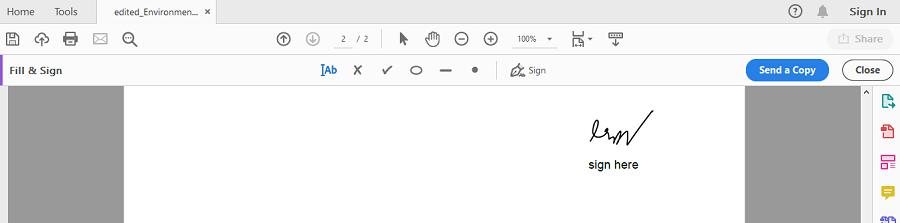 DeftPDF electronic signature in Adobe