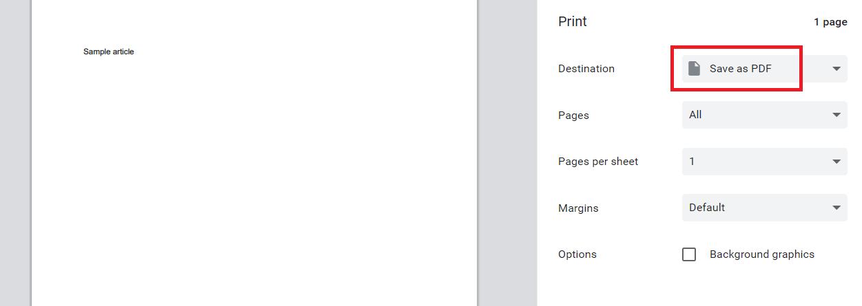 print to pdf using google docs