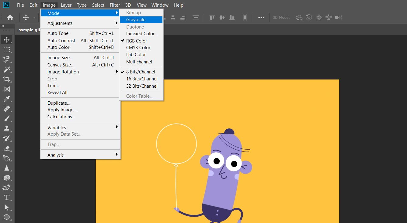 how to turn pdf into grayscale with photoshop