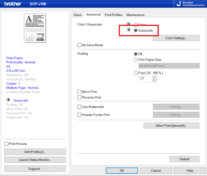 setting your printer to grayscale