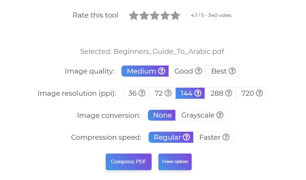 more options in compress tool deftpdf