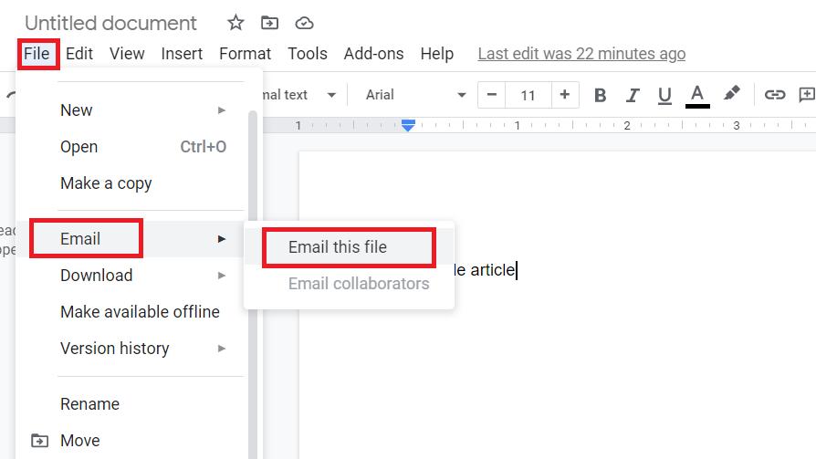 send google docs as PDF