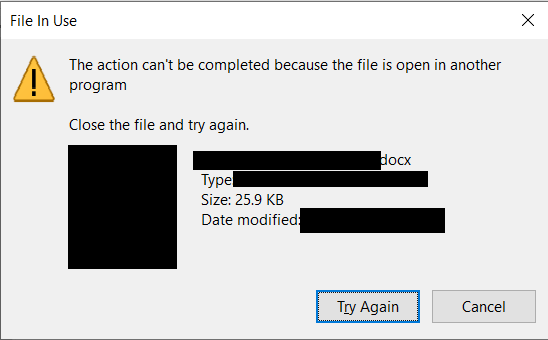 cant open because it is open in another application