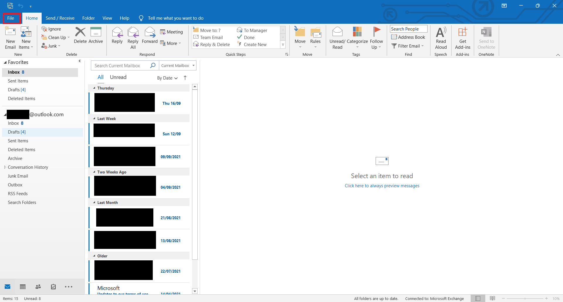 file option in outlook