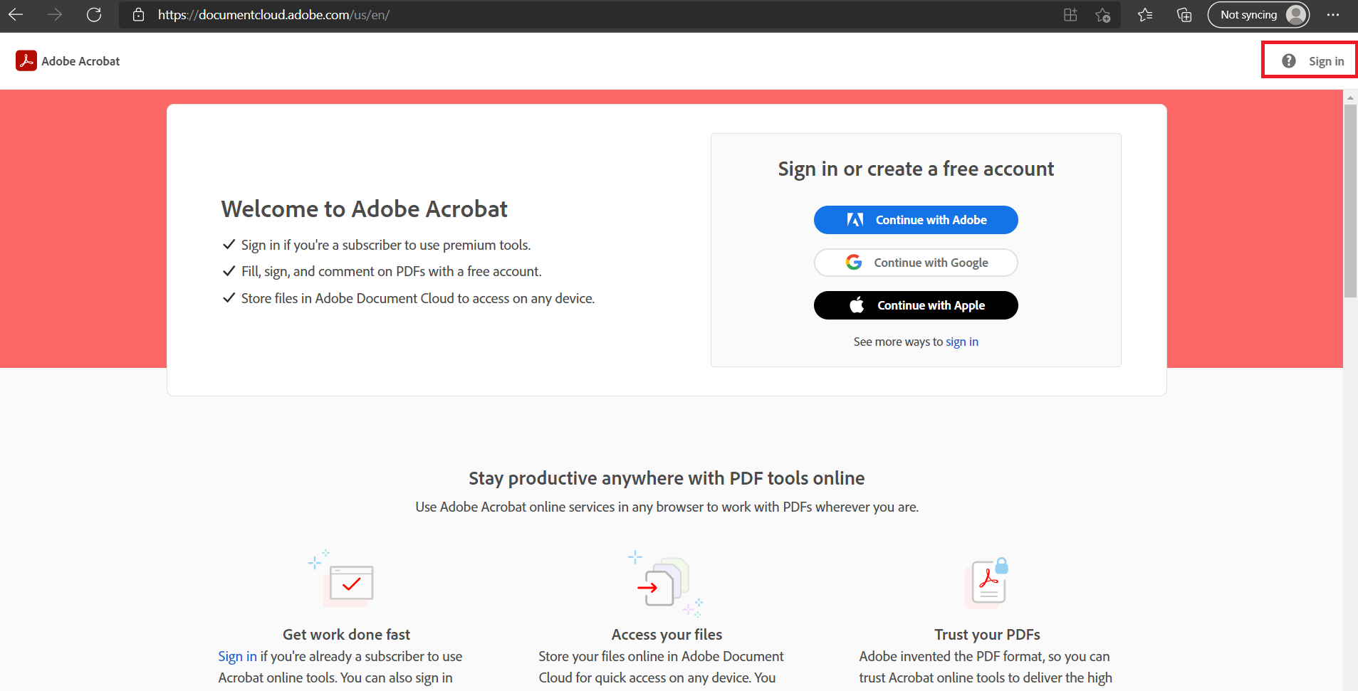 sign in to document cloud in adobe