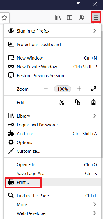 firefox settings and more options