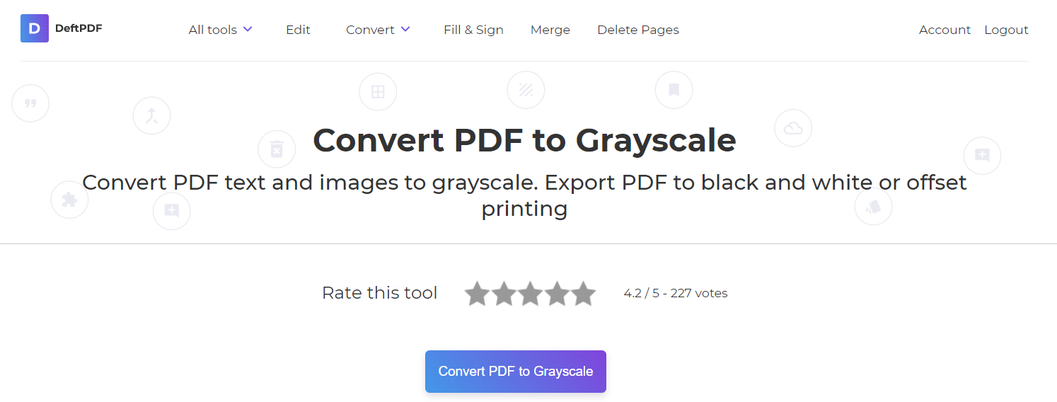 DeftPDF turns PDF into grayscale