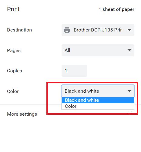 browser printer setting to gray