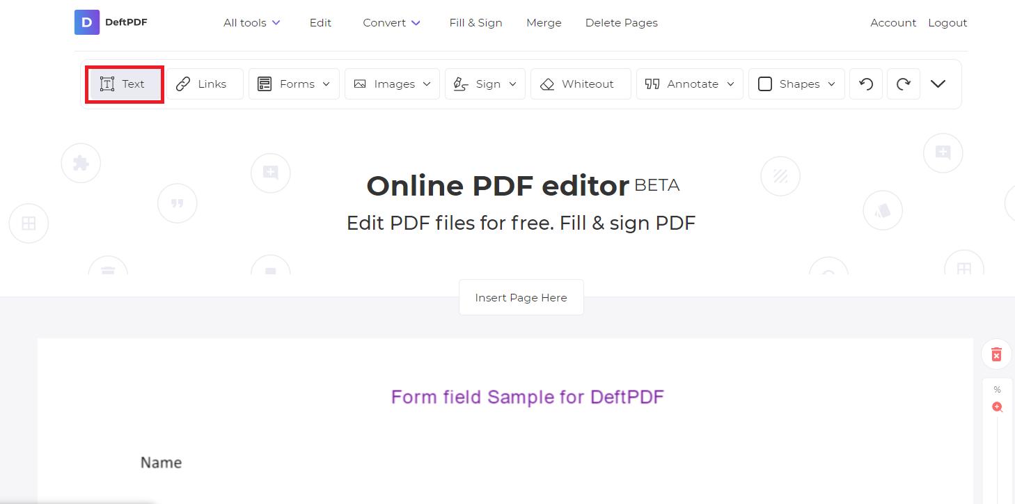 text tool in deftpdf