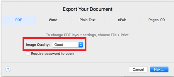 Highest image quality for PDF in mac