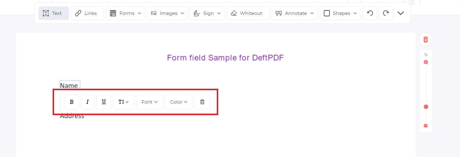 edit text formatting using toolbar in edit tool by deftpdf