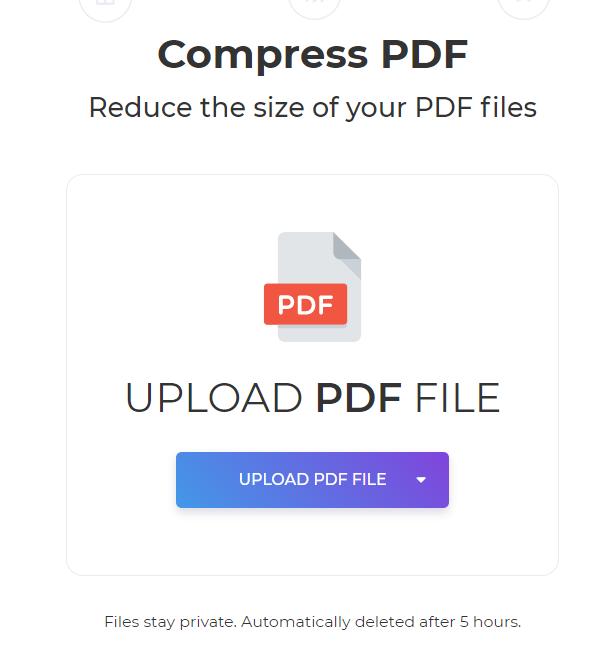 upload pdf files to compress