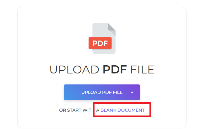 deftpdf_start with a blank document