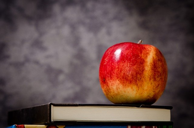 apple on top of book